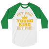 Get Paid Young King Get Paid Men's 3/4 sleeve raglan shirt - Chocolate Ancestor