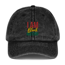 Load image into Gallery viewer, Chocolate Ancestor, LLC- I Am Black History Unisex Vintage Cotton Twill Cap ${varant_title}