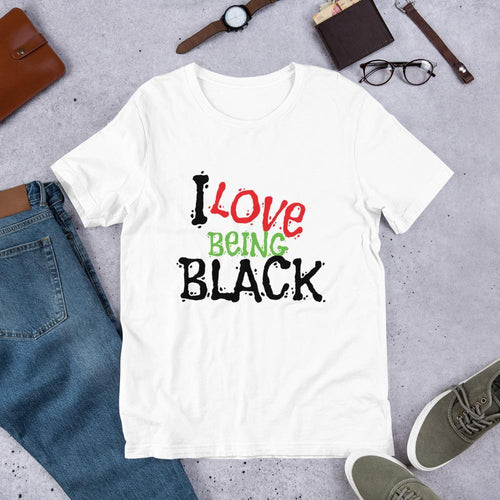 Chocolate Ancestor, LLC- I Love Being Black (Flavors) Short-Sleeve Unisex T-Shirt ${varant_title} Unisex T-shirt