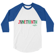 Load image into Gallery viewer, Chocolate Ancestor, LLC- Juneteenth RBG 3/4 sleeve raglan shirt ${varant_title} Unisex Raglan Shirt