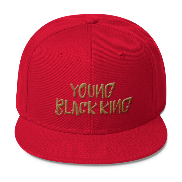 Young Black King- Gold (3D Puff) Wool Blend Snapback