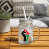 Pan African RBG Black Power Fist Mason Jar - Chocolate Ancestor