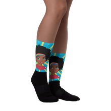 Load image into Gallery viewer, Chocolate Ancestor, LLC- Pop Starburst Diva (Blue) Black foot socks ${varant_title} Socks