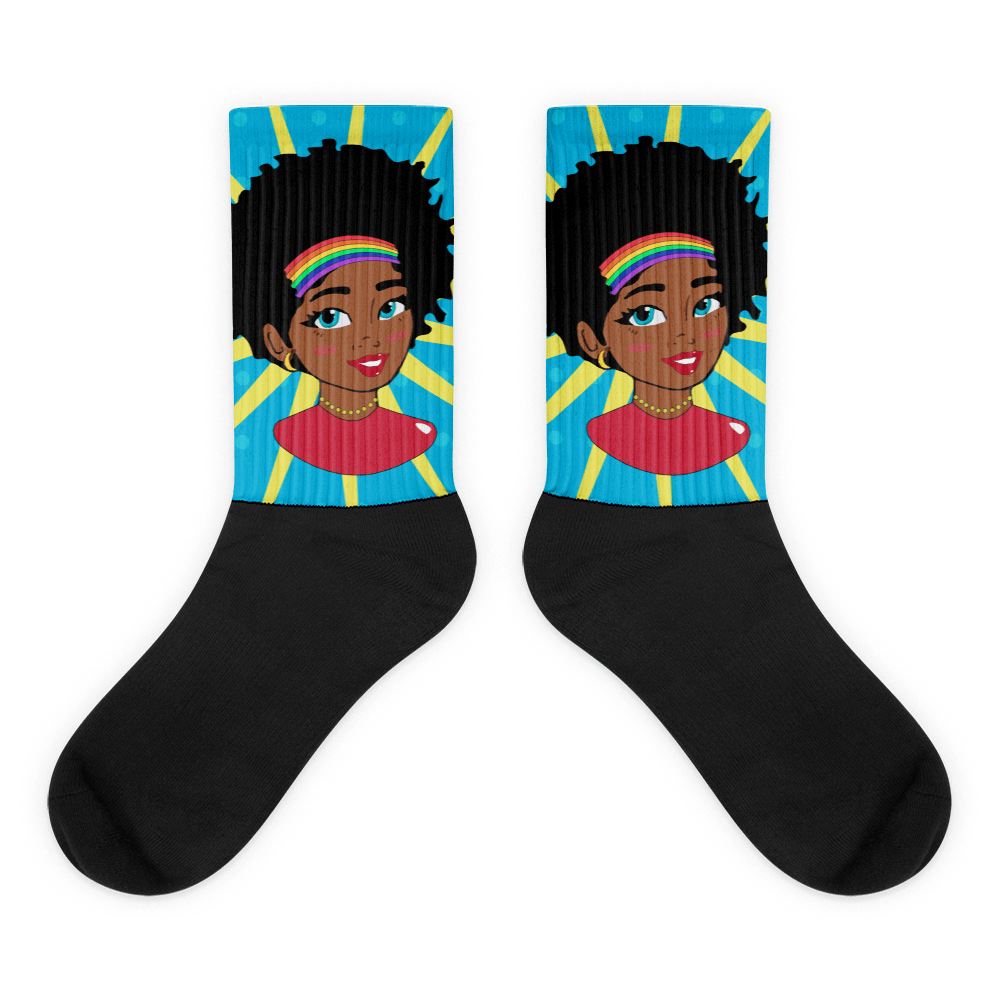 Chocolate Ancestor, LLC- Pop Starburst Diva (Blue) Black foot socks ${varant_title} Socks