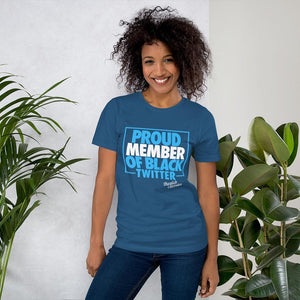 Chocolate Ancestor, LLC- Proud Member of Black Twitter (Blue/White) Short-Sleeve Unisex T-Shirt ${varant_title} Unisex T-shirt