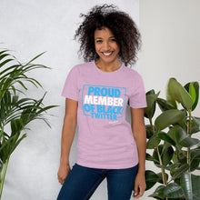 Load image into Gallery viewer, Chocolate Ancestor, LLC- Proud Member of Black Twitter (Blue/White) Short-Sleeve Unisex T-Shirt ${varant_title} Unisex T-shirt