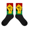 RBG Flag w/ Yellow Fist Black foot socks - Chocolate Ancestor