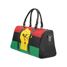 Load image into Gallery viewer, Chocolate Ancestor, LLC- Pan African RBG Flag w/ Yellow Fist Waterproof Travel Bag (Small & Large) ${varant_title} Travel Bag