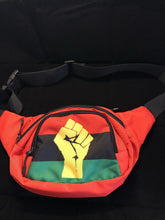 Load image into Gallery viewer, Chocolate Ancestor, LLC- RBG Pan African Flag w/ Yellow Fist Unisex Waist Bag ${varant_title} Waist Bag
