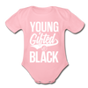 Young Gifted & Black Organic Short Sleeve Baby Bodysuit - light pink
