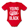 Young Gifted & Black Organic Short Sleeve Baby Bodysuit - red