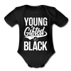 Young Gifted & Black Organic Short Sleeve Baby Bodysuit - black
