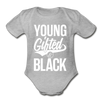 Young Gifted & Black Organic Short Sleeve Baby Bodysuit - heather gray