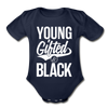 Young Gifted & Black Organic Short Sleeve Baby Bodysuit - dark navy