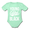 Young Gifted & Black Organic Short Sleeve Baby Bodysuit - light mint