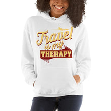 Load image into Gallery viewer, Chocolate Ancestor, LLC- Travel is My Therapy Hooded Unisex Sweatshirt ${varant_title}