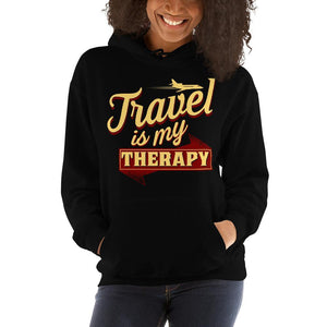 Chocolate Ancestor, LLC- Travel is My Therapy Hooded Unisex Sweatshirt ${varant_title}