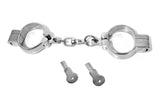 Stainless Steel Chain-Link Hamburg-8 Snap Shut Handcuffs with Two Keys 128-B-SS