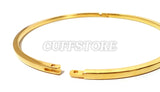 Cuboid Style Gold Stainless Steel Lightweight Slave Collar Restraint 1999-GP