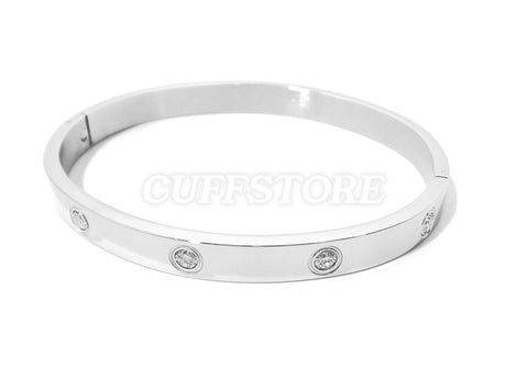 Novelty Crystal Bondage Quick Snap Shut Bracelet - Colors: Silver, Gold or Copper