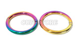 Elliptical Rainbow Handcuffs Wrist Fetish Bracelet Cuffs 2016-RAINBOW Multiple Sizes