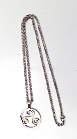 Triskele Pendant Necklace With Chain 21""