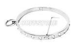 Stainless Steel Single Ring White Crystal Bondage Collar 2033-WC