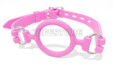 Soft Silicone Adjustable Open Mouth Gag- Available Colors: Black, Pink