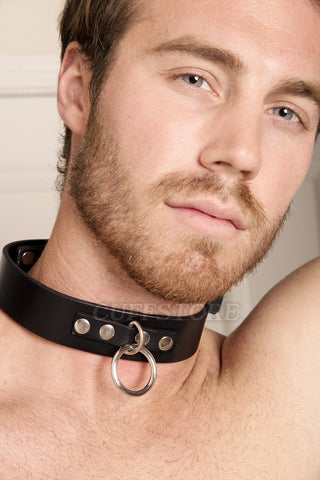 Locking Adjustable Black Leather Single Ring Bondage Collar with Padlock and Key 2036-STNDRD