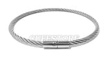 Stainless Steel Twist Rope Wire Locking Bondage Collar 2041-SS