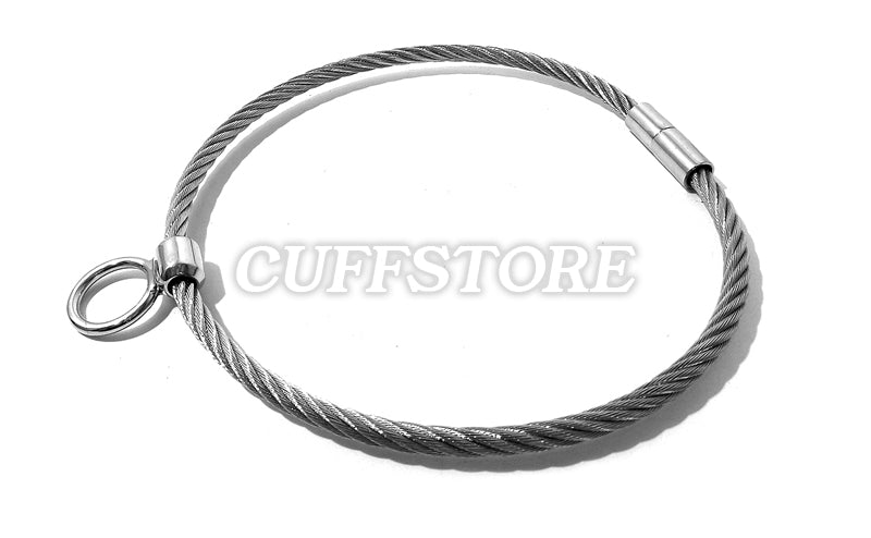 Wyred Wire Bondage Collar with Non-Removable Single Ring