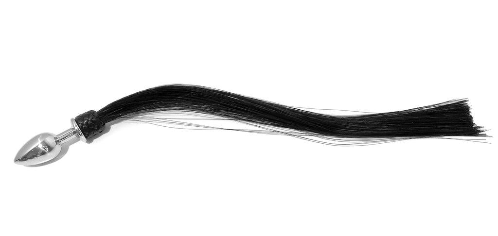 Long Black Silky Horse Tail Anal Butt Plug