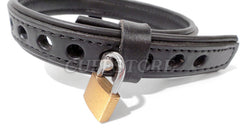 Adjustable Size Locking Square Ring Leather Collar Restraint with Padlock