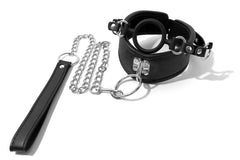 Soft Padded Leather Neck Posture Collar with Attached Silicone Mouth Gag & Leash