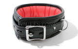 Black & Red Lockable Bondage Collar with Leash