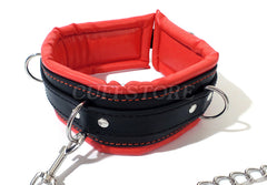 Red & Black Lockable Bondage Collar with Leash
