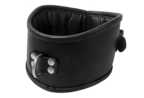 Padded Leather Posture Collar with Padlock 2 Heights