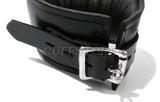 Adjustable Size Deluxe Padded Black Leather Posture Collar