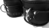 "Lockable Black Leather Handcuffs (5"" to 8"" Adjustable)"
