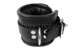 "Lockable Black Leather Padded Ankle Cuffs (6"" to 10"" Adjustable)"