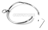 Curved Stainless Steel Bondage Collar with Single Ring Multiple Sizes Satin or Polished Finish