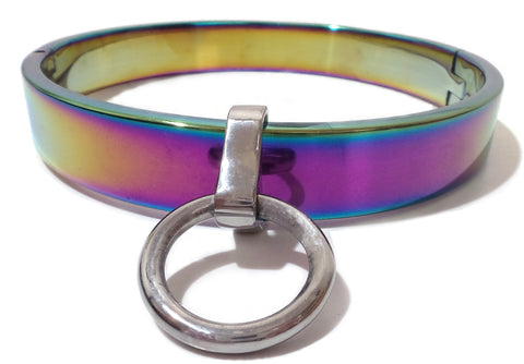 Flat Rainbow Slave Collar with Removable Ring