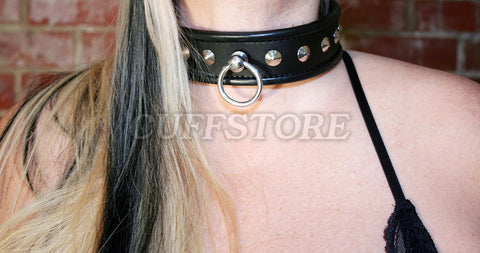 Lockable Black Leather Studded Bondage Collar