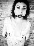 Soft Silicone Open Mouth Gag with Chained Nipple Clamps