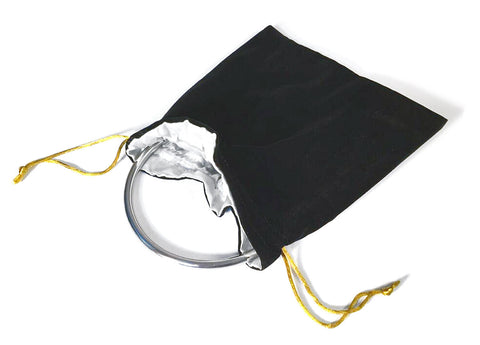 Black Velvet Drawstring Bag with Silver Lining