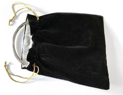Soft Black Velvet Drawstring Bag with Silver Lining