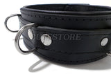 Premium Locking Leather Collar With D Rings