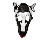 Black & White Leather Puppy Play Dog Mask with Removable Muzzle