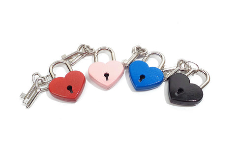 Heart Padlock with Two Keys - Available Colors: Red, Pink, Blue and Black