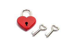 Matte Heart Padlock with Two Keys - Available Colors: Red, Pink, Blue and Black